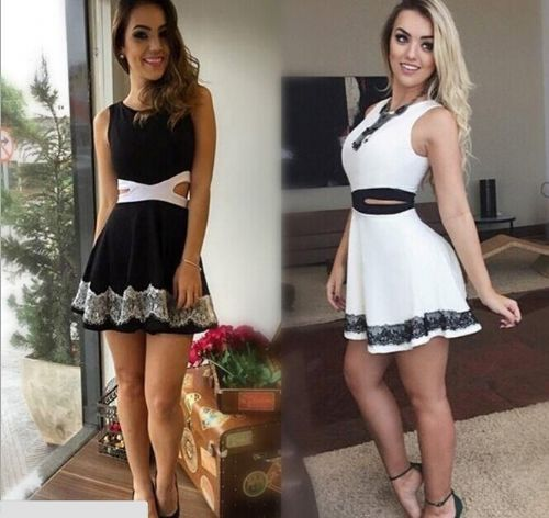 New Women Sleeveless Bodycon Dress Cocktail Evening Party Mini Skater Skirt